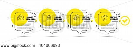 Love Letter, Ice Cream Milkshake And Travel Passport Line Icons Set. Timeline Infograph Speech Bubbl