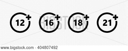 Set Of Age Restriction Icons. 12, 14, 18 And 21 Age Limit Concept.