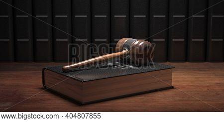 Judge Gavel And Law Book, Office Desk Background. 3D Illustration