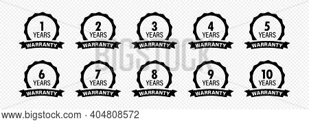 Years And Lifetime Warranty Label Icon Set.