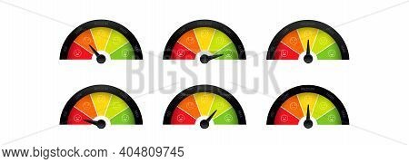 Mood Scale Icon Set. Face Satisfaction Emoticon Happiness Smile Feedback Scale. From Angry To Happy