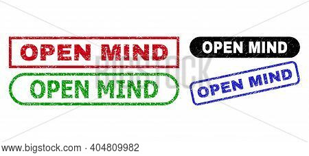 Open Mind Grunge Seal Stamps. Flat Vector Textured Seal Stamps With Open Mind Slogan Inside Differen