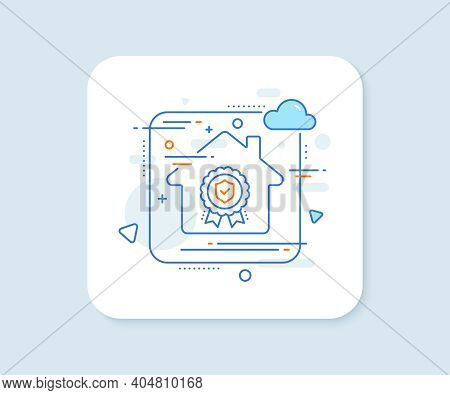 Insurance Medal Line Icon. Abstract Vector Button. Certified Risk Coverage Sign. Confirmed Protectio