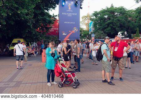 Sochi, Krasnodar Region-june 14, 2018: Football Fans On The Square. In Sochi, During The Fifa World