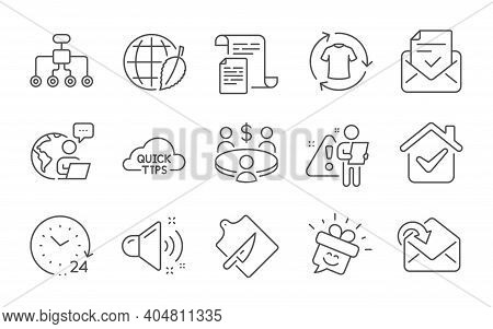 24 Hours, Documents And Quick Tips Line Icons Set. Restructuring, Meeting And Receive Mail Signs. En