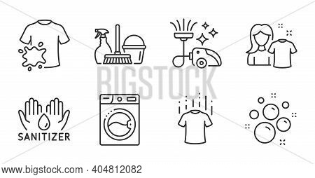 Hand Sanitizer, Dry T-shirt And Vacuum Cleaner Line Icons Set. Household Service, Clean Shirt And Cl