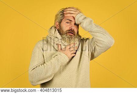 Immune Response Bearded Man Sick. Warm Scarf Around Neck. More Than Just Symptom Of Illness. Hipster