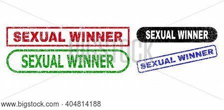 Sexual Winner Grunge Watermarks. Flat Vector Distress Watermarks With Sexual Winner Title Inside Dif