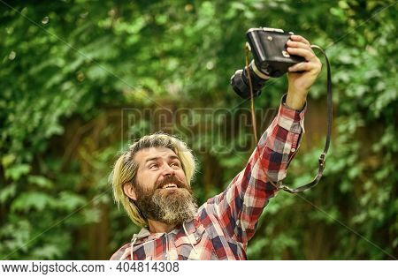 Man Photographer Do Shooting Session. Selfie Time. Shooting Day Hobby. Hobby And Leisure. Mature Ski