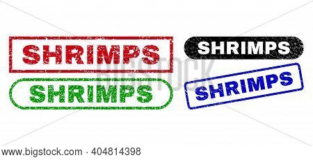 Shrimps Grunge Watermarks. Flat Vector Grunge Watermarks With Shrimps Caption Inside Different Recta