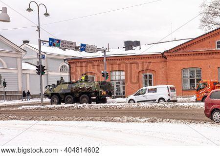 Helsinki. Finland. January 19, 2021 Winter, Snowy Helsinki. Modern Transport On A Snowy Winter Stree