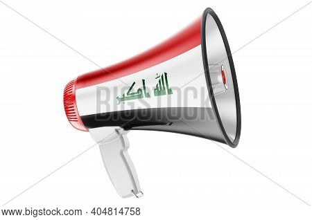 Megaphone With Iraqi Flag, 3d Rendering  Isolated On White Background