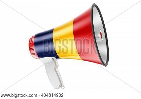 Megaphone With Romanian Flag, 3d Rendering  Isolated On White Background