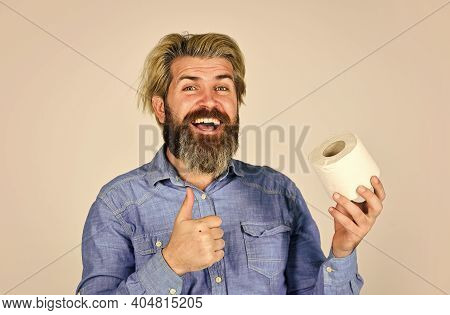 Use Calculator To Prevent Toilet Paper Hoarding. Man Hold Toilet Paper. Hipster With Tissue. Limit U
