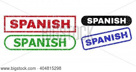 Spanish Grunge Seals. Flat Vector Grunge Watermarks With Spanish Tag Inside Different Rectangle And