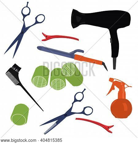 Barber Set Vector Stock Illustration. Comb, Scissors, Hair Dryer, Curling Iron, Clips, Hairpins, Nai