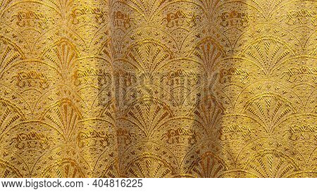 Silk Texture With Floral Pattern. Chinese Brocade, Beautiful Expensive Fabric Background. Embroidery