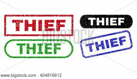 Thief Grunge Seals. Flat Vector Grunge Stamps With Thief Message Inside Different Rectangle And Roun