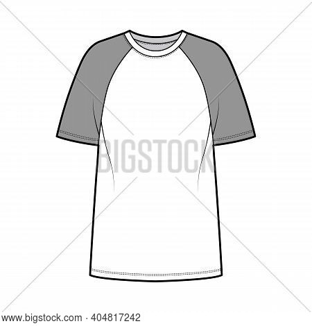 T-shirt Baseball Technical Fashion Illustration With Raglan Short Sleeves, Tunic Length, Crew Neck,