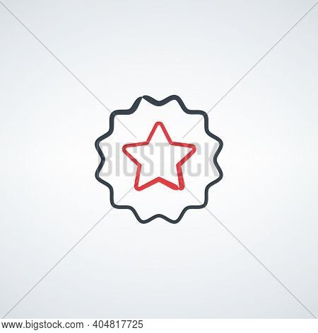 Hand Drawn Simply Award Medal Badge With Star Icon. Certificate Ui Symbol. First Place Label User In