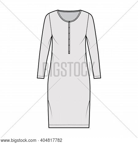 Shirt Dress Technical Fashion Illustration With Henley Neck, Long Sleeves, Knee Length, Oversized, P
