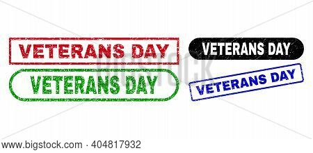 Veterans Day Grunge Seal Stamps. Flat Vector Grunge Seal Stamps With Veterans Day Caption Inside Dif