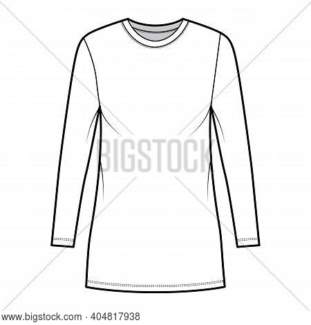 T-shirt Dress Technical Fashion Illustration With Crew Neck, Long Sleeves, Mini Length, Oversized, P