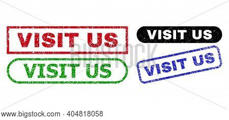 Visit Us Grunge Watermarks. Flat Vector Distress Watermarks With Visit Us Tag Inside Different Recta