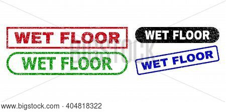 Wet Floor Grunge Seal Stamps. Flat Vector Grunge Stamps With Wet Floor Tag Inside Different Rectangl