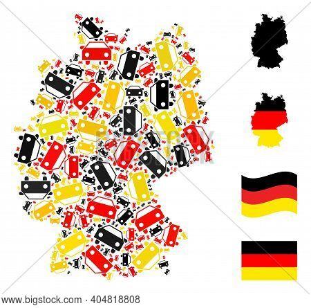German Map Mosaic In German Flag Official Colors - Red, Yellow, Black. Vector Car Icons Are Combined