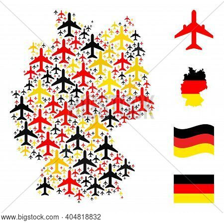 German State Map Mosaic In German Flag Official Colors - Red, Yellow, Black. Vector Airplane Design