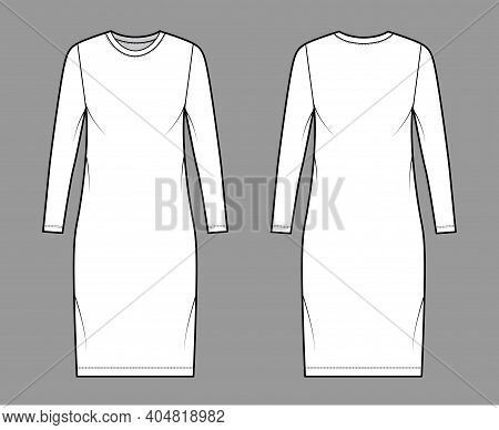 T-shirt Dress Technical Fashion Illustration With Crew Neck, Long Sleeves, Knee Length, Oversized, P