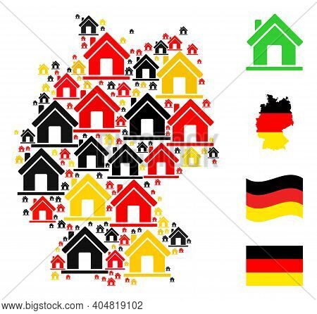 Germany State Map Mosaic In Germany Flag Official Colors - Red, Yellow, Black. Vector Home Design El