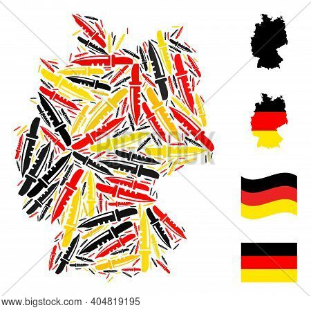Germany Geographic Map Mosaic In Germany Flag Official Colors - Red, Yellow, Black. Vector Knife Ele