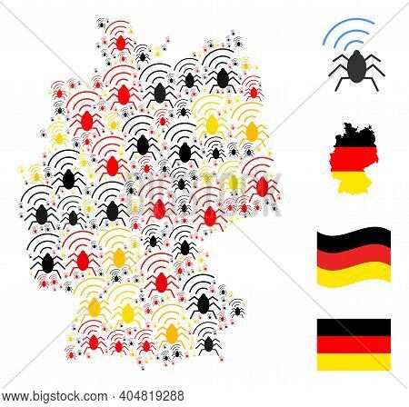 Germany State Map Mosaic In Germany Flag Official Colors - Red, Yellow, Black. Vector Radio Bug Desi