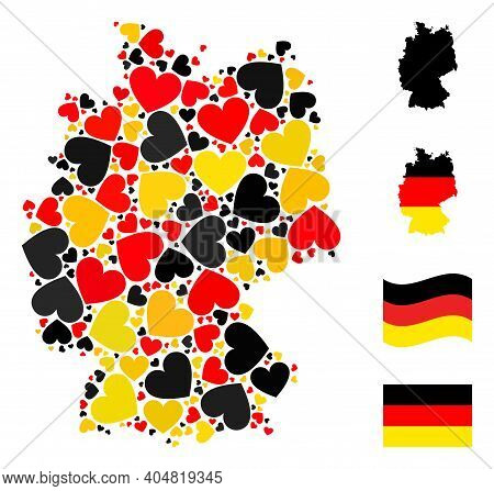 Germany Geographic Map Mosaic In Germany Flag Official Colors - Red, Yellow, Black. Vector Love Hear