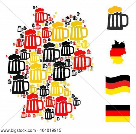 German State Map Mosaic In German Flag Official Colors - Red, Yellow, Black. Vector Beer Mug Pictogr