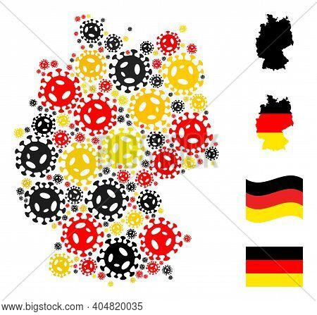 Germany Map Mosaic In Germany Flag Official Colors - Red, Yellow, Black. Vector Virus Elements Are O