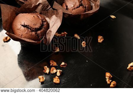 Cake Chocolate Fondant Cake In Home Oven On The Dark Black Background. Good For Menu Receipt Book De