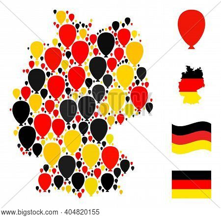 Germany Map Mosaic In Germany Flag Official Colors - Red, Yellow, Black. Vector Celebration Ballon P