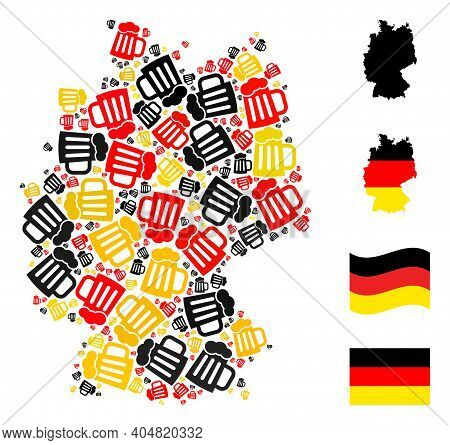 Germany Geographic Map Mosaic In Germany Flag Official Colors - Red, Yellow, Black. Vector Beer Mug