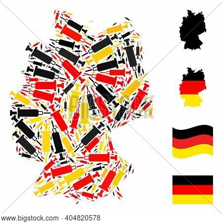 German Geographic Map Mosaic In German Flag Official Colors - Red, Yellow, Black. Vector Blood Syrin