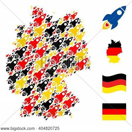 German State Map Mosaic In German Flag Official Colors - Red, Yellow, Black. Vector Space Rocket Ele