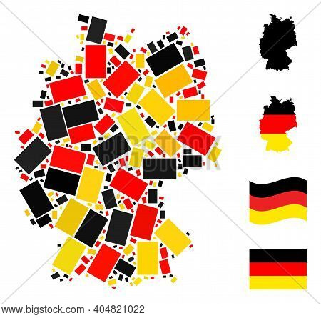 Germany Geographic Map Mosaic In Germany Flag Official Colors - Red, Yellow, Black. Vector Filled Re