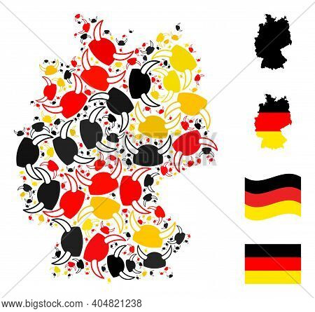German Map Mosaic In German Flag Official Colors - Red, Yellow, Black. Vector Horned Helmet Design E