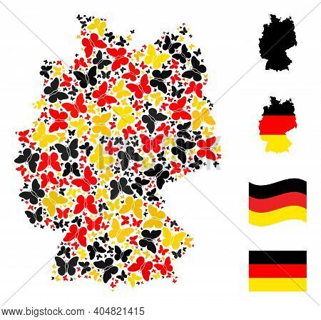 German State Map Mosaic In German Flag Official Colors - Red, Yellow, Black. Vector Butterfly Items