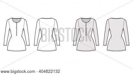 Shirt Dress Mini Technical Fashion Illustration With Henley Neck, Long Sleeves, Fitted Body, Stretch
