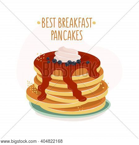 Illustration Of Pancakes And Blueberries With Whipped Cream On Top And Chocolate Topping And The Ins