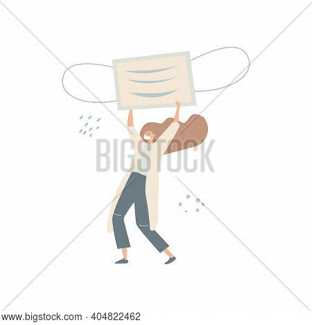 Vector Flat Illustration Of A Doctor In A Protective Mask Carrying A Large Protective Medical Mask.