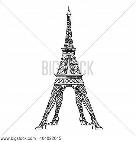 Eiffel Tower Standing On Women Legs In Fishnet Stockings & High Heels, Funny Caricature, Vector Illu